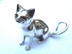 【送料無料】猫 ネコ キャット 置物 スターリングミニチュア3cmquality sterling silver collectable miniature sitting cat figure statue 3cm