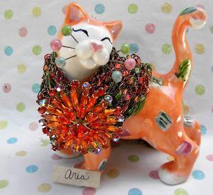 【送料無料】猫 ネコ キャット 置物 ##タンジェリンクリスタルネックレス