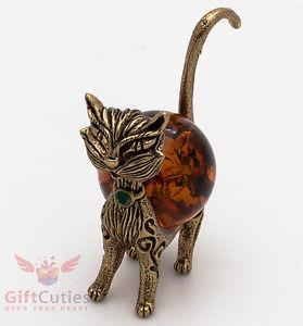 【送料無料】猫 ネコ キャット 置物 オレンジsolid brass amber figurine of elegant cat wiskies ironwork