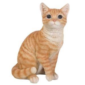 【送料無料】猫 ネコ キャット 置物 トラネコ12470realistic looking orange tabby cat kitten collectible figurine glass eyes 12470