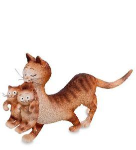 【送料無料】猫 ネコ キャット 置物 デュブ ネコショウガdub27dubout cats figurines mum carrying kittens ginger dub27