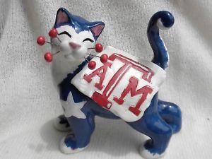 【送料無料】猫 ネコ キャット 置物 レッドホワイトアギーred, white amp;blue aggie whimsiclay cat
