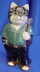 【送料無料】猫 ネコ キャット 置物 ウズラセラミックゴルファーバッグゴルフクラブゴルフquail ceramic cat golfer with bag amp; golf clubs ideal gift for golfing fanatics