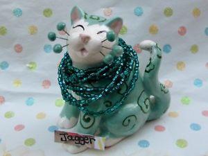 【送料無料】猫 ネコ キャット 置物 #ジャガー#アートガラスビーズネックレス