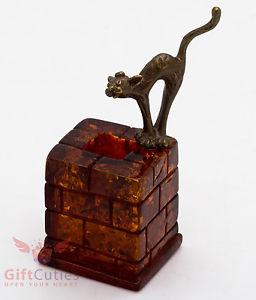 【送料無料】猫 ネコ キャット 置物 ironworksolid brass amber figurine of cat on a chimney ironwork