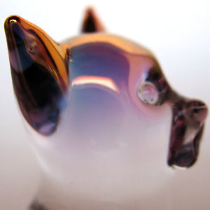 【送料無料】猫 ネコ キャット 置物 ガラスリラックスネコcat relaxing feline figurine of hand blown glass gold