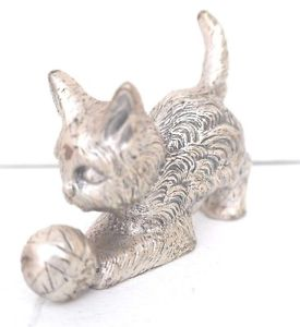 【送料無料】猫 ネコ キャット 置物 ビンテージメタル##カイザーミニチュアvintage metal 034;lets play034; geschenkekaiser echt zinn miniature figurine