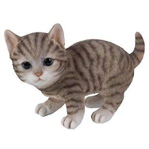 【送料無料】猫 ネコ キャット 置物 グレーネコ#;realistic and cute grey tabby kitten collectible figurine amazing detail 85034;l