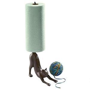 【送料無料】猫 ネコ キャット 置物 ネコペーパータオルホルダーストレッチhelpful feline stretching cast iron functional paper towel holder kitchen decor