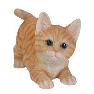【送料無料】猫 ネコ キャット 置物 オレンジネコガラスrealistic playful orange tabby kitten collectible glass eyes