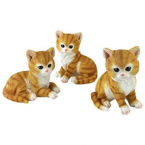 【送料無料】猫 ネコ キャット 置物 オレンジタイガーセットcute little set of 3 orange tabby tiger kittens cat lover animal sculptures