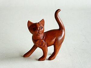 【送料無料】猫 ネコ キャット 置物 デザインwooden hand carved witches pentagram catdesign 1