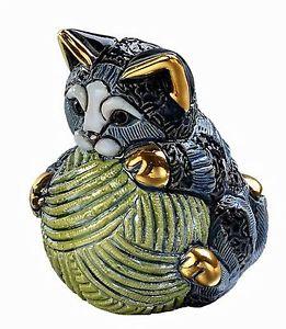 【送料無料】猫 ネコ キャット 置物 デローザボックスストライプde rosa striped kitten with yarn ball f393 in gift box 26841