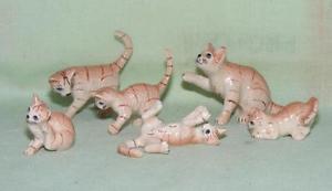 【送料無料】猫 ネコ キャット 置物 ミニチュアショウガklima miniature porcelain animal figures ginger tabby cat family k053