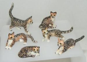 【送料無料】猫 ネコ キャット 置物 ミニロングテールミニチュアセットklima miniature porcelain set of 6 mini long tail tabby cats k418