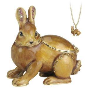【送料無料】猫 ネコ キャット 置物 バニーウサギボックスペンダントsecrets hidden treasures bunny rabbit trinket box amp; pendant animal lovers gift