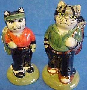 【送料無料】猫 ネコ キャット 置物 ウズラセラミックゴルフゴルファーquail ceramic salt amp; pepper cruet set golf golfers