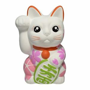 【送料無料】猫 ネコ キャット 置物 #;#seto ware 61039;039; sakura painted white maneki neko right hand