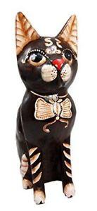 【送料無料】猫 ネコ キャット 置物 インドネシア#リボンbalikraft indonesia wood artisans 034;kucing loreng034; adorable butterfly ribbon feli