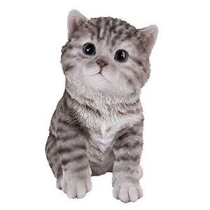 【送料無料】猫 ネコ キャット 置物 ネコガラスplayful grey tabby kitten collectible figurine with glass eyes hand paint resin