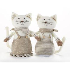 【送料無料】猫 ネコ キャット 置物 インチベージュストライプセット delton 9 inches beige stripe cats, set of 2