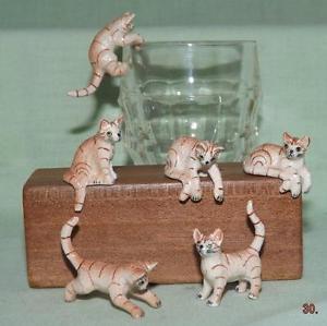 【送料無料】猫 ネコ キャット 置物 ミニチュアジンジャーklima miniature porcelain animals set of 6 ginger tabby kittens 2 k181