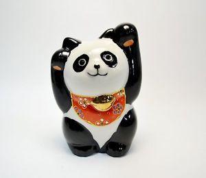 【送料無料】猫 ネコ キャット 置物 パンダ#;#;kutani ware panda maneki neko 453039;039; both hands maneki neko