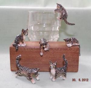 【送料無料】猫 ネコ キャット 置物 ミニチュアklima miniature porcelain animals set of 6 grey tabby kittens 1 k183