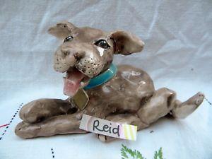 【送料無料】猫 ネコ キャット 置物 ブラウンテリア##ビンテージピンbadasslook brown mixed breed terrier 034;reid034; vintage whimsiclay free pin