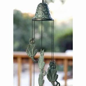 【送料無料】猫 ネコ キャット 置物 ガーデンチャイムgardenyard decor brass cat wind chime,18039;039;tall
