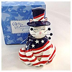 【送料無料】猫 ネコ キャット 置物 エイミーラコンブヤンキーhtf amy lacombe whimsiclay 86011 yankee doodle ii red white blue stars amp; stripes