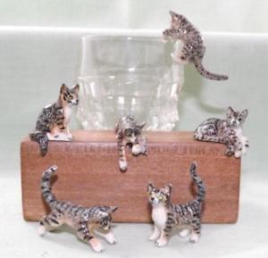【送料無料】猫 ネコ キャット 置物 ミニチュアklima miniature porcelain animals set of 6 grey tabby kittens 2 k183