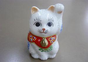 【送料無料】猫 ネコ キャット 置物 #;#kutani ware 264039;039; white mori left hand maneki neko
