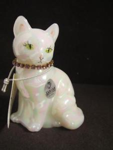 【送料無料】猫 ネコ キャット 置物 ガラスカレンダーfenton glass calendar cats june signed t gaskins alexandria collar nib