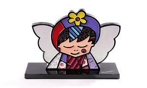 【送料無料】猫 ネコ キャット 置物 ロメロブリットエンジェルタグromero britto angel 2d figurine  with tag