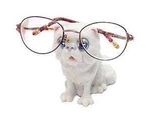 【送料無料】猫 ネコ キャット 置物 ペルシャホルダースタンドwhite persian cat lovers novelty eyeglass holder stand