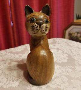 【送料無料】猫 ネコ キャット 置物 ヴィンテージ#vintage 1960039;s cat blue eyed figurine solid wood hand carved hand painted