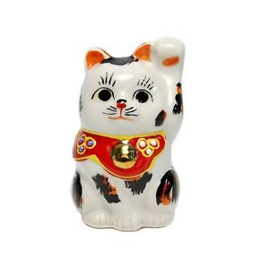 【送料無料】猫 ネコ キャット 置物 マイクkutani ware 264039;039; mike left hand maneki neko