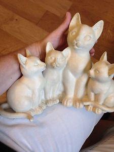 【送料無料】猫 ネコ キャット 置物 very large beautiful white set of four cats figurine with free shipping