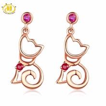 【送料無料】ルビーイヤリングローズゴールドドロップhutang natural ruby cute cat tiny drop earrings rose gold