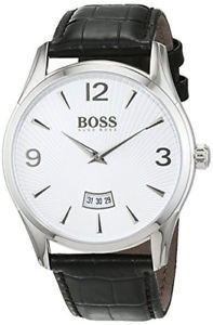 【送料無料】腕時計 ウォッチヒューゴボスメンズコマンダークオーツステンレススチールブラックレザーウォッチ