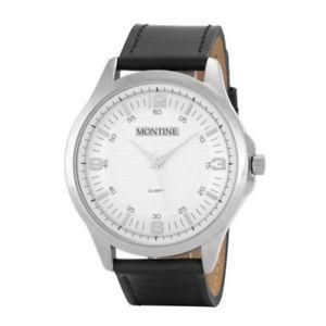 【送料無料】腕時計 ウォッチメンズブラックレザーステンレススチール