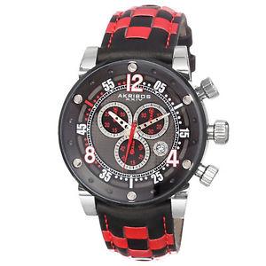 【送料無料】腕時計 ウォッチスイスクロノグラフチェッカーレッドレザーウォッチ