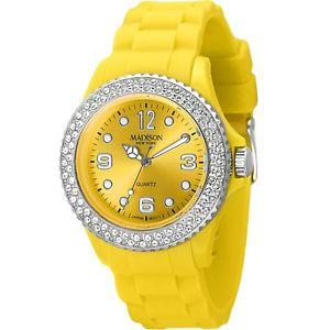 【送料無料】腕時計 ウォッチマディソンニューヨークレディースジューシーイエローウォッチmadison york damenuhr juicy glamour gelb, veredelt mit swarovski elements