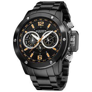 【送料無料】腕時計 ウォッチスイスマルチファンクションブラックステンレススチールウォッチ
