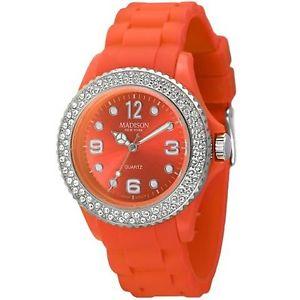 【送料無料】腕時計 ウォッチマディソンニューヨークスワロフスキージューシーオレンジウォッチmadison york damenuhr juicy glamour orange, veredelt mit swarovski elements