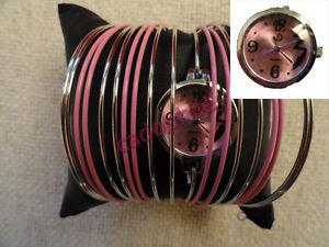 【送料無料】腕時計 ウォッチブレスレットローズアルジェントローズmontre bijou 2 en 1 adulte femme bracelets anneaux joncs rose argent cadran rose