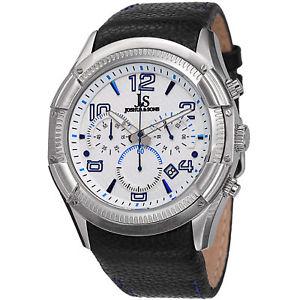 【送料無料】腕時計 ウォッチジョシュアシルバートーンクロノグラフレザーストラップウォッチ mens joshua amp; sons js69bu silvertone chronograph gmt leather strap watch