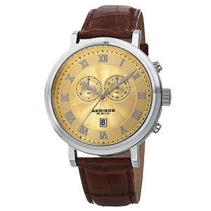 【送料無料】腕時計 ウォッチスイスクオーツクロノグラフブラウンレザーウォッチ mens akribos xxiv ak591ss swiss quartz chronograph date brown leather watch