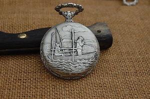 【送料無料】腕時計 ウォッチドノートルダムデュキャップboitier de montre a gousset dcor dune scne de deux pcheurs sur une barque